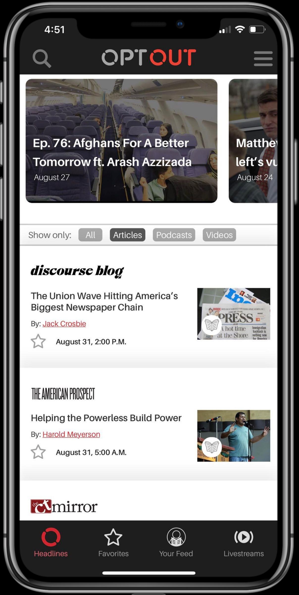 image of OptOut app on phone